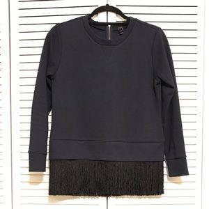 J. Crew Sweater Blouse w/ Black Tassel Detail, XS